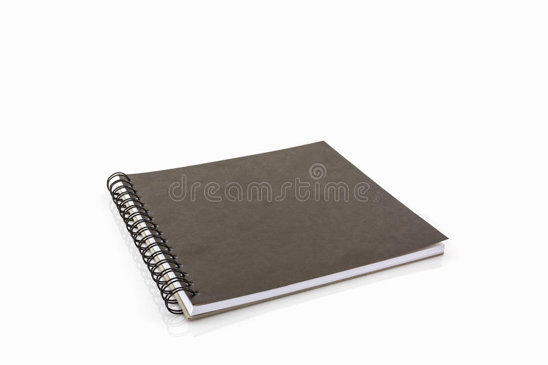 Sketch book. Close up black sketch book on white background royalty free stock images