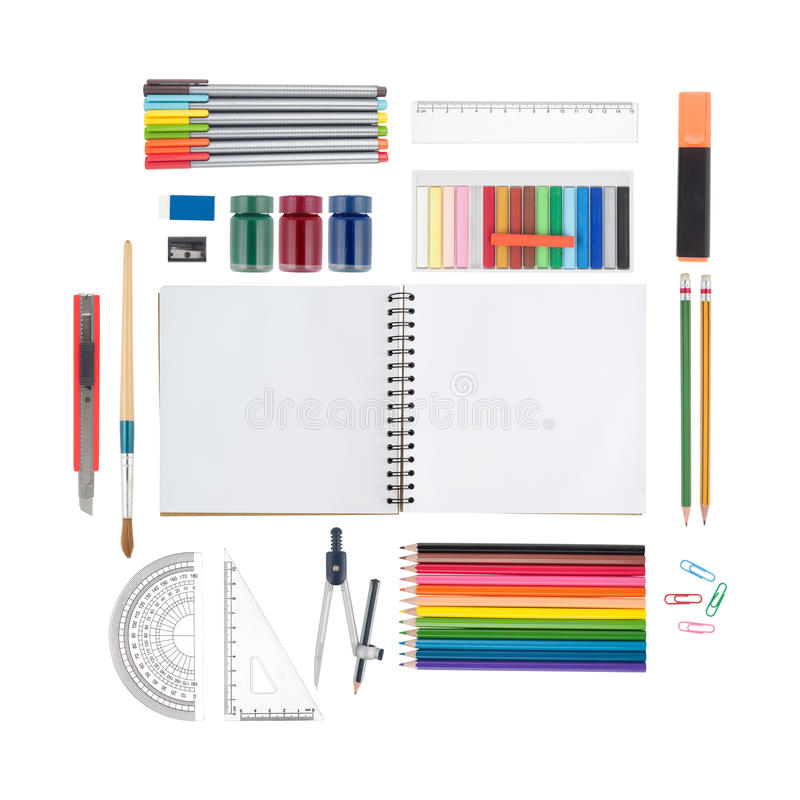 Sketch book and school or office tools isolated on white background And Clipping path stock image