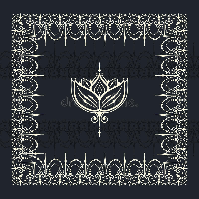 Sketch of border and endless stripes with lotus flower in henna. Sketch of border and endless stripes and lotus flower in henna tattoo style. Mehndi element for stock illustration