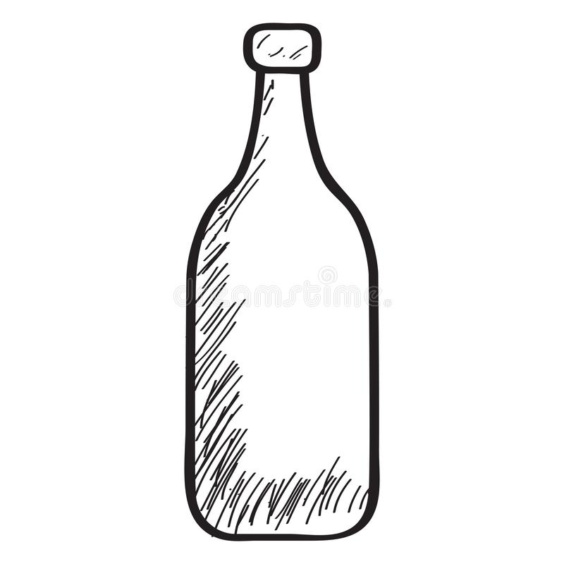 Sketch of a bottle. On a white background - Vector royalty free illustration