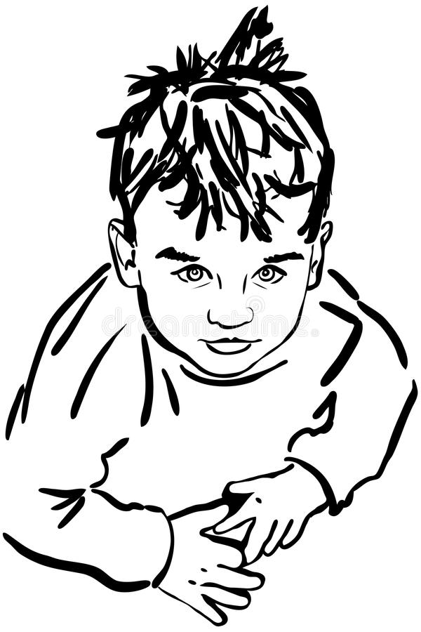 Download Sketch Boy With The Dishevelled Hair Stock Vector - Illustration: 27546096