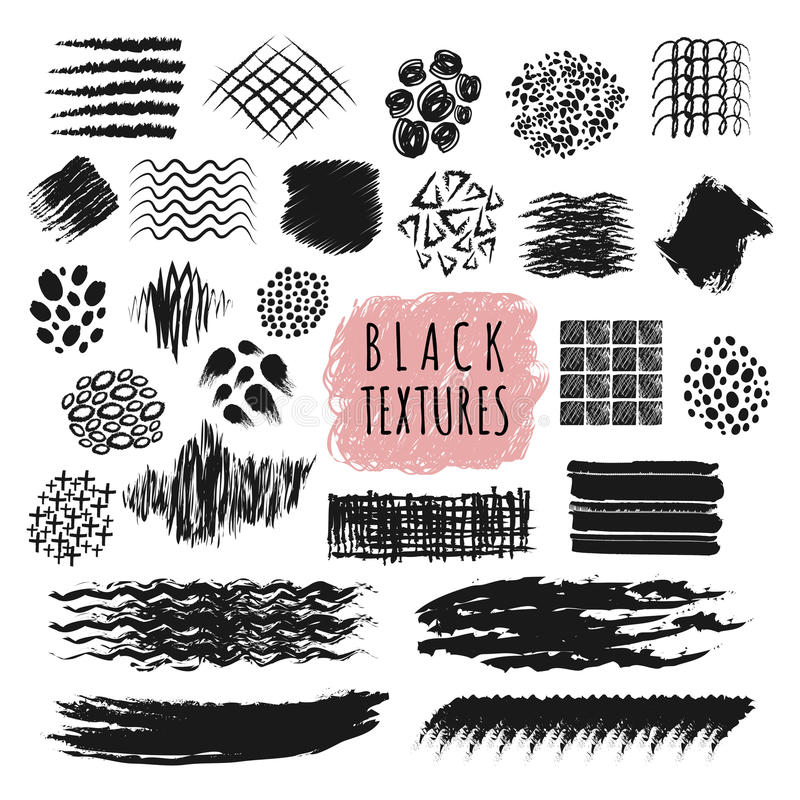 Sketch brush stroke texture design vector elements. Abstract sketch pen and pencil rough strip lines set. Marker stroke grunge, rough black paint brush royalty free illustration