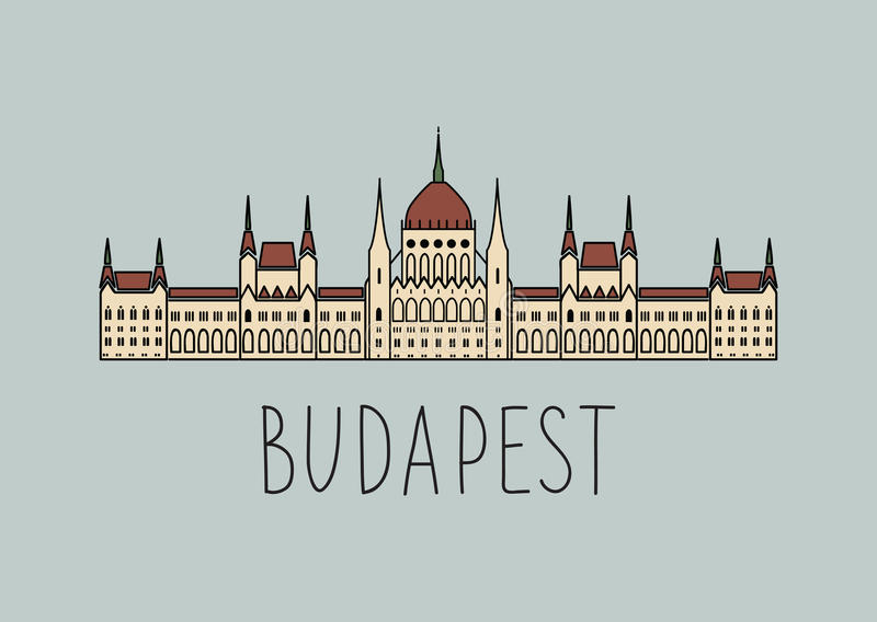 Sketch of Budapest Parliament. Hand drawing sketch of Budapest Parliament Building, Hungary vector illustration