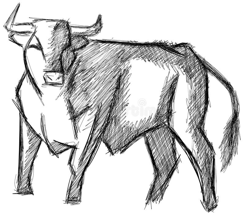 Sketch of a bull in black and white isolated royalty free illustration