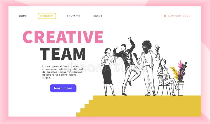 Creative team concept with multiracial office people group celebrating. vector illustration