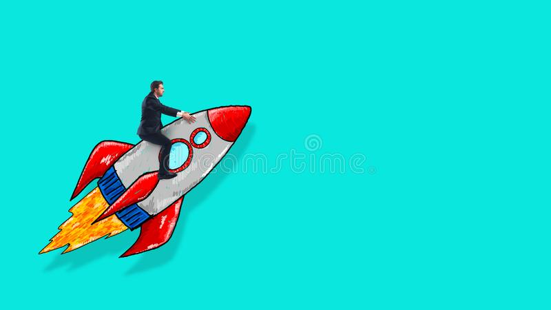 Sketch of a business man taking off on a rocket on a cyan background. Startup and ambition concept. Businessman holding a rocket. Startup of a new company royalty free stock photo