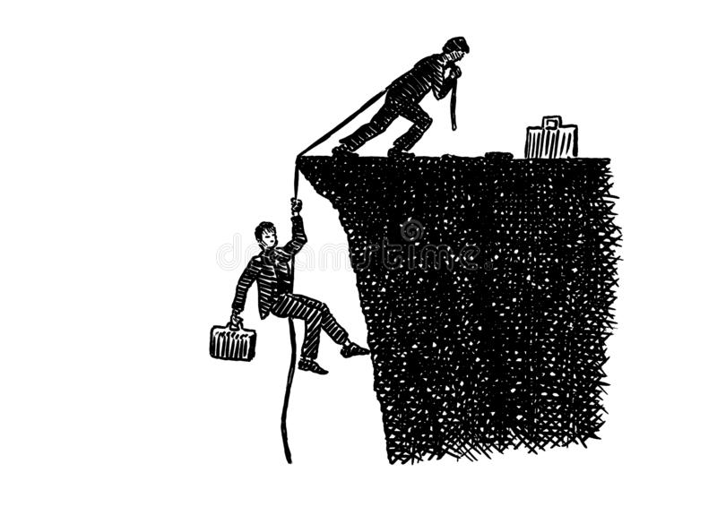 Sketch Of Businessman Pulling Teammate Atop Cliff. Hand drawn pen sketch of business leader atop a cliff pulling up a work colleague with a rope. Artistic stock illustration