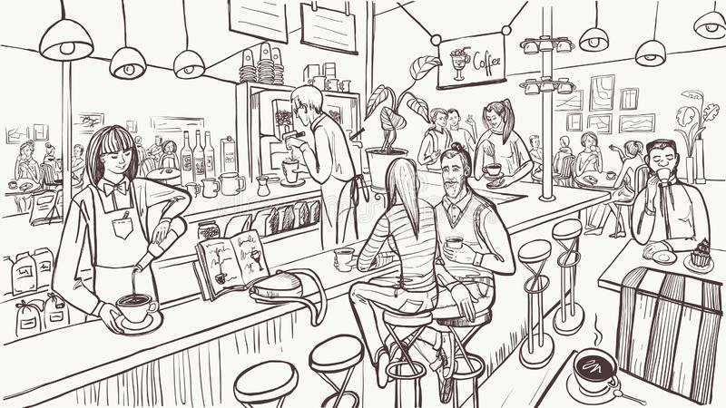 Cafe interior and people in sketch style. Modern cafe concept. Vector illustration. stock illustration