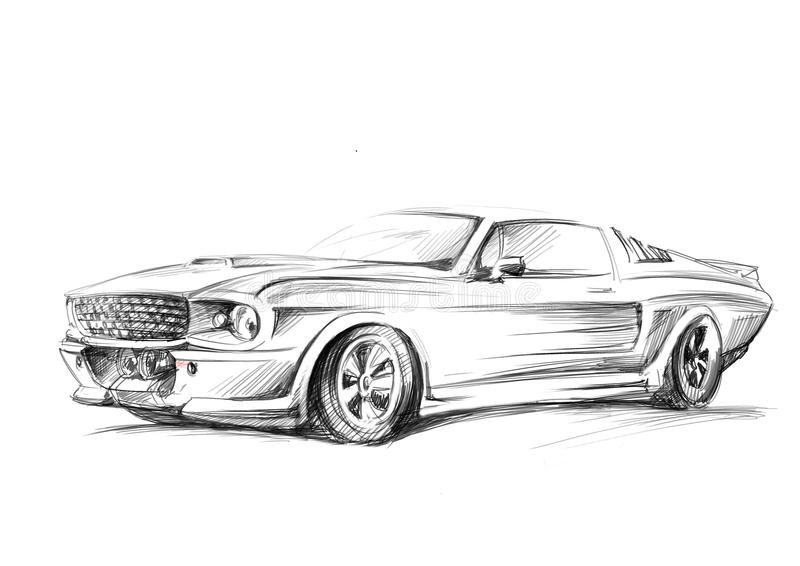 A sketch of a car stock illustration. Illustration of machine - 49820606