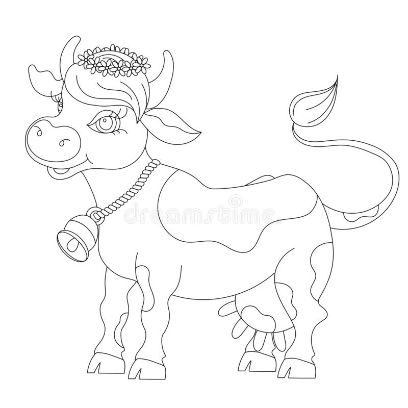Sketch cartoon cow, for children coloring book. royalty free illustration