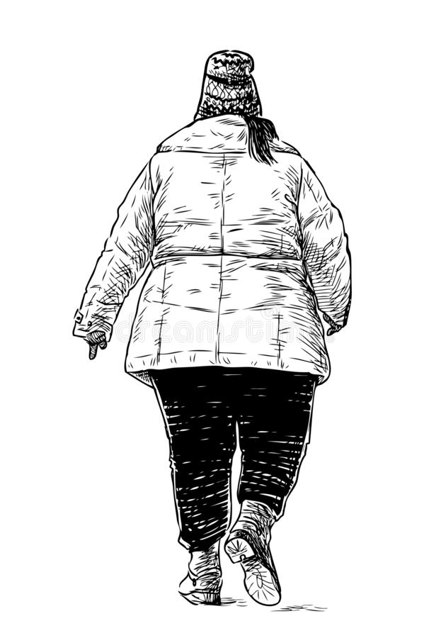 Sketch of a casual city dweller walking down the street stock illustration