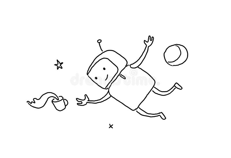 Sketch character weightlessness in outer space. The robot lost a cup of coffee zero gravity. 404 error not page. Hand stock illustration