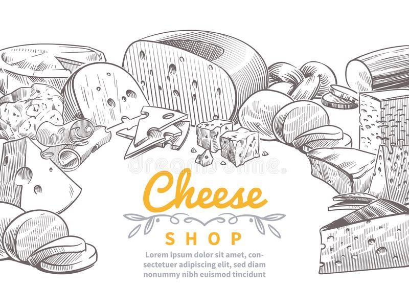 Sketch cheese background. Tasty cheeses brie, feta and parmesan slices gourmet snacks. Doodle sketch vintage vector royalty free illustration