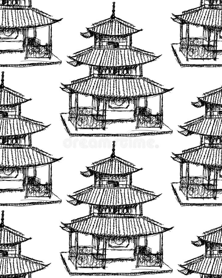 Sketch Chinese temple, seamless pattern. Sketch Chinese temple, vintage seamless pattern stock illustration