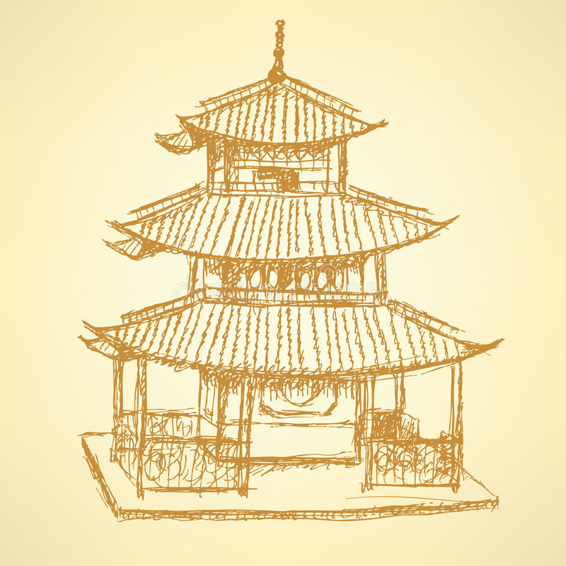 Sketch Chinese temple, vector background eps 10. Sketch Chinese temple, vector vintage background eps 10 royalty free illustration