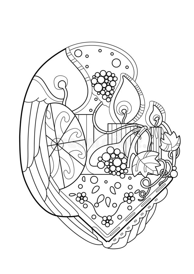 Sketch Christian  vector illustration . Symbols of the Resurrection. Easter .Coloring book for adults royalty free stock image