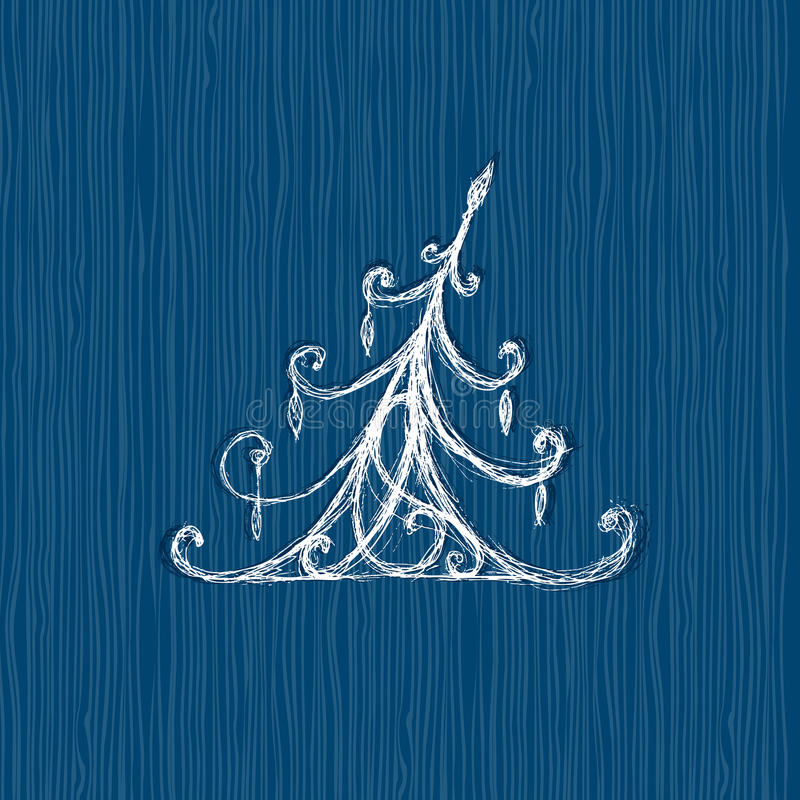 Sketch of christmas pine, wooden background. Sketch of christmas pine on wooden background royalty free illustration