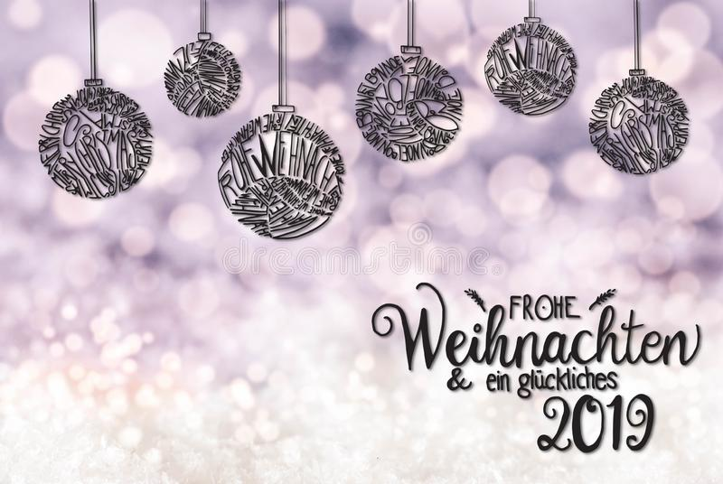 Ball, Calligraphy Glueckliches 2019 Means Happy 2019, Light Purple Background stock illustration