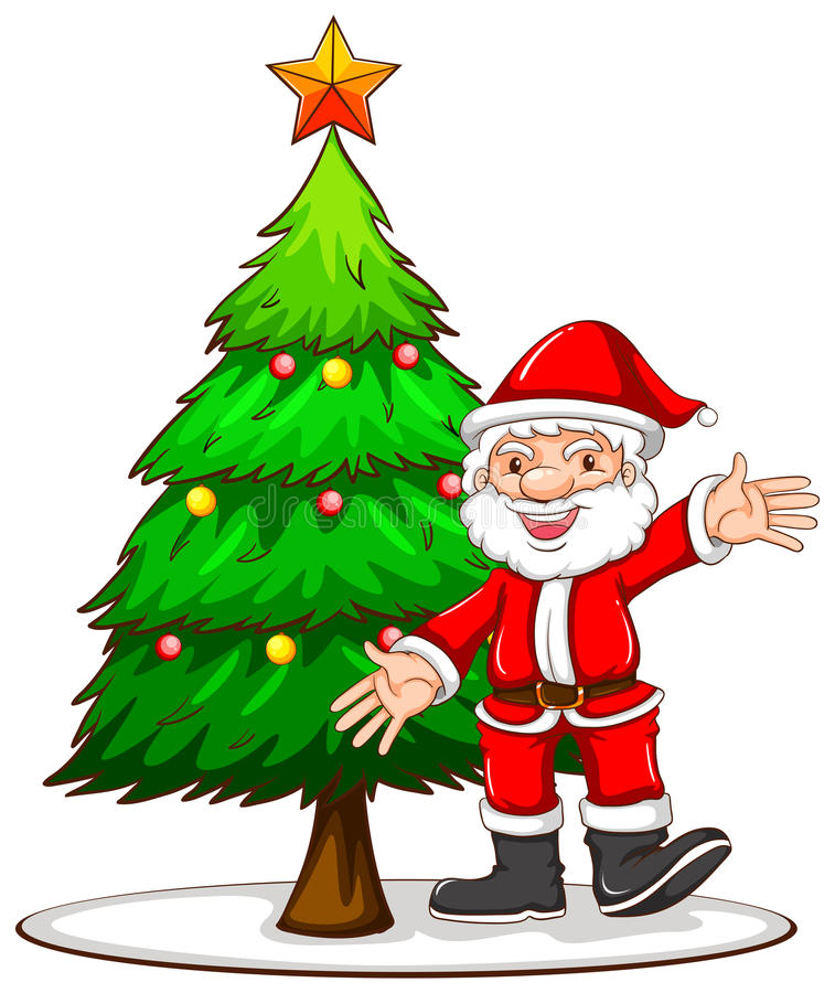download a sketch of a christmas tree with santa claus stock vector illustration of holiday - Santa Claus Tree