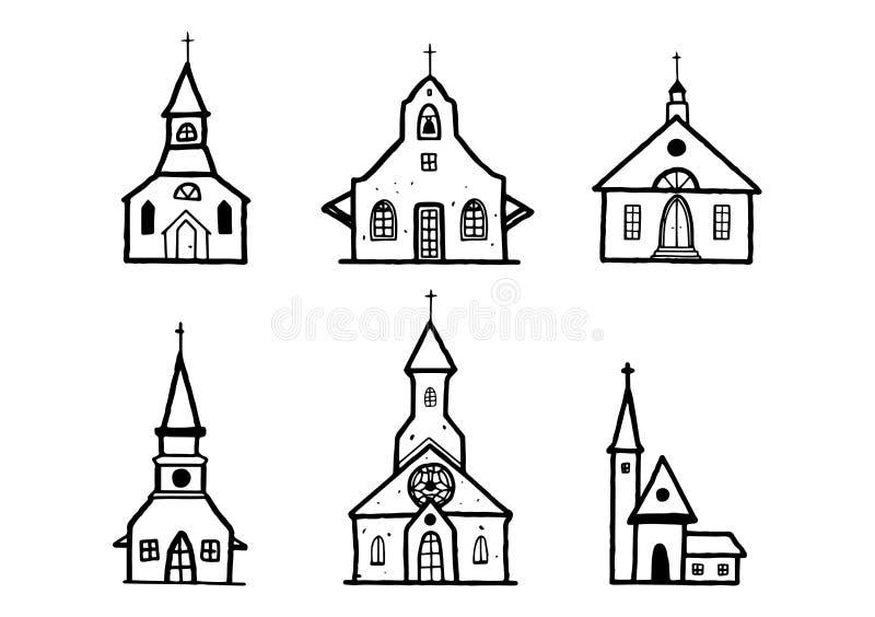 Sketch Church doodle buildings set . Hand drawn illustration, christian sign, catholic religion object vector illustration