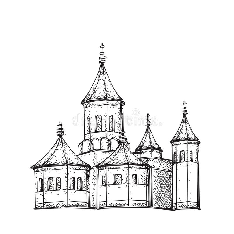 Sketch Of Church. Hand Drawn Illustration Stock Vector - Illustration Of Drawn Architecture ...