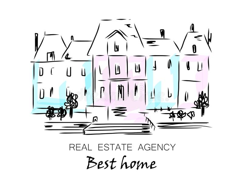 Sketch of city house, detached, single family houses with trees. Hand drawn cartoon vector illustration. Logo for real estate agency, silhouette of the city stock illustration