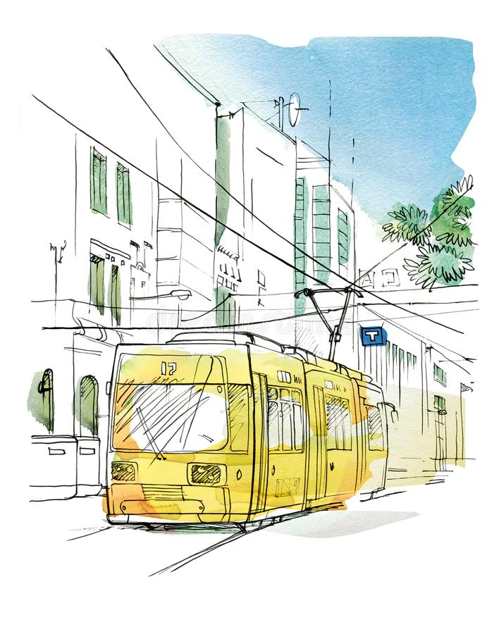 Sketch of the city landscape with a yellow trolley. Graphic arts royalty free illustration