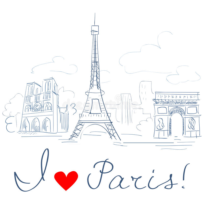 Sketch of the city, Paris royalty free illustration