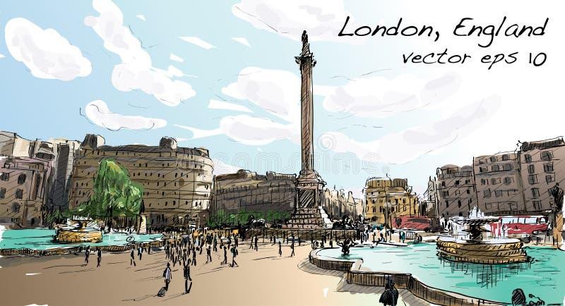 Sketch city scape in London England shop monunent, peoples walk royalty free illustration