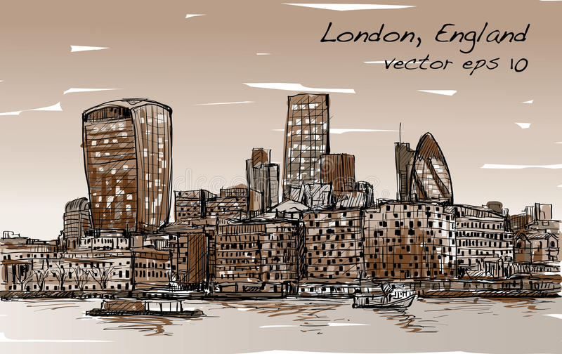 Sketch city scape in London England show skyline and building royalty free illustration