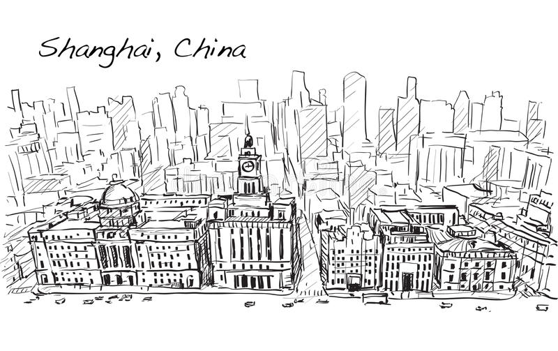 Sketch city scape of Shanghai, China, the building in downtown,. Free hand draw illustration vector vector illustration