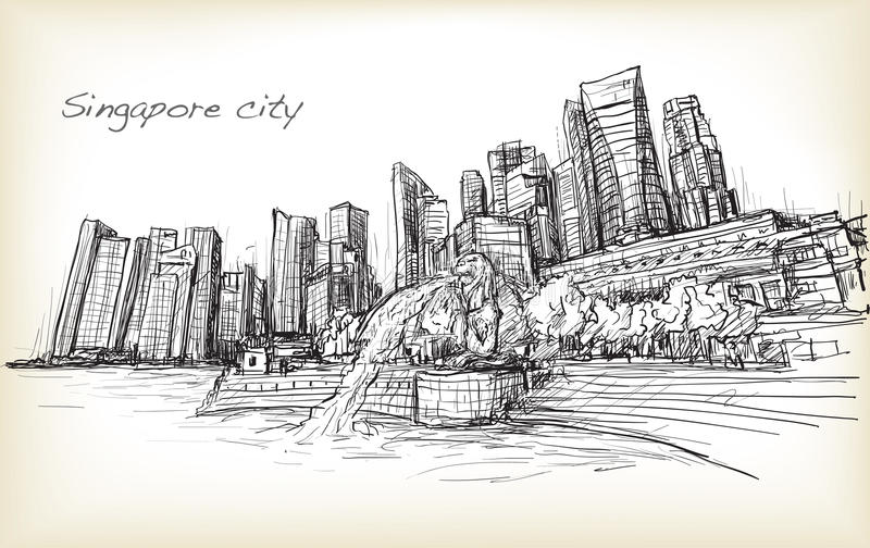 Sketch city scape of Singapore skyline with Merlion fountain royalty free illustration