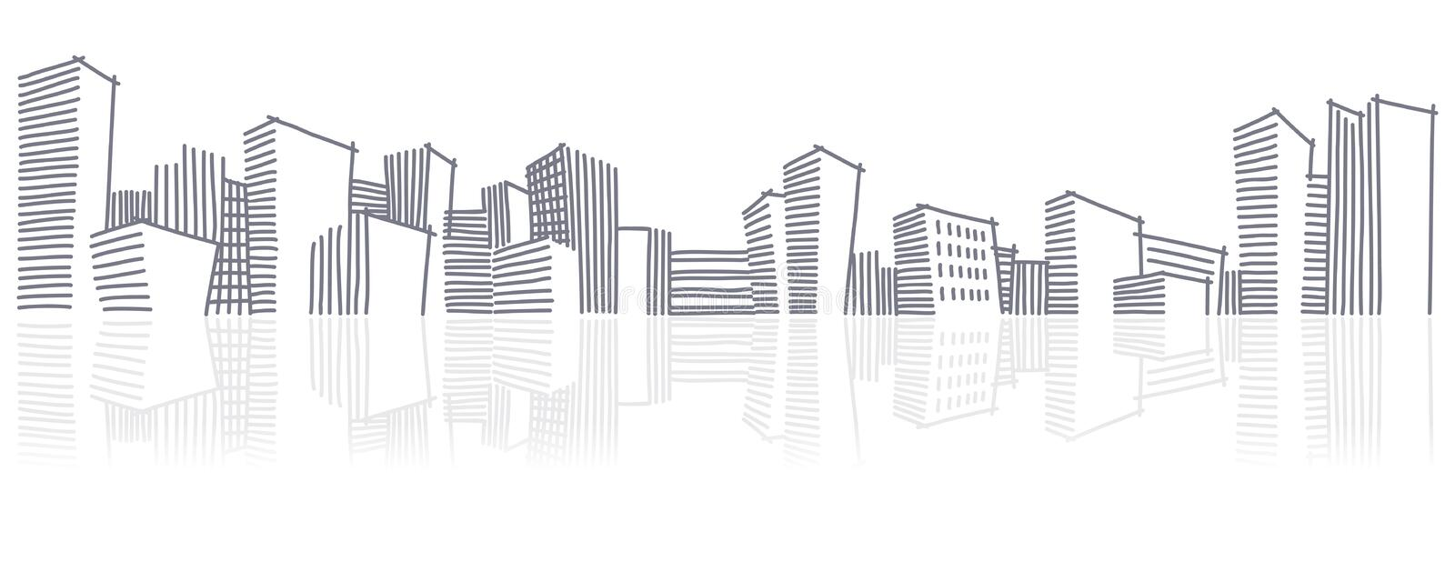 Download The Sketch Of A City Skyline Stock Vector - Illustration of buildings, back: 18862693