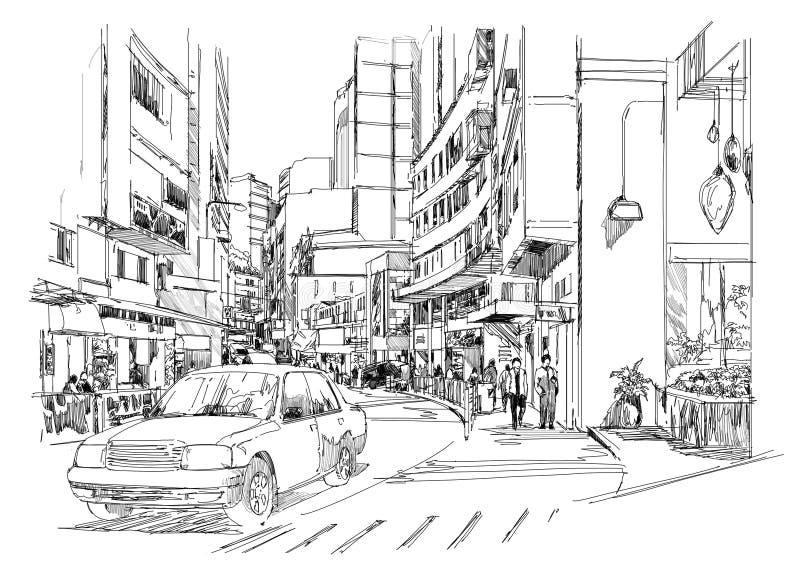 Sketch of city street,cityscape,Illustration vector illustration