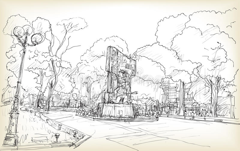 Sketch of cityscape Hanoi public space at Vuon hoa Hang Dau park stock illustration