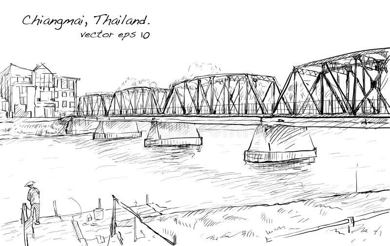 Sketch of cityscape show iron bridge in Chiangmai Thailand vector illustration