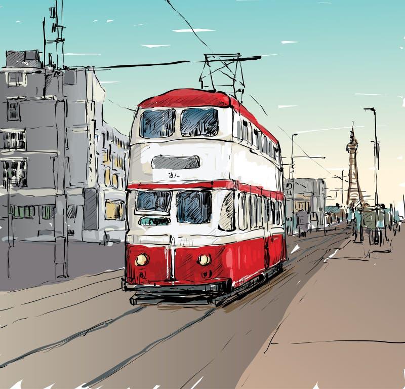 Sketch of cityscape show trasportation tradittonal tram in England, illustration vector stock illustration
