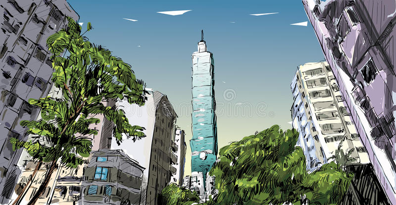 Sketch of cityscape show urban street view in Taiwan, Taipei vector illustration