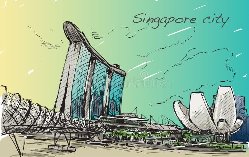 Sketch cityscape of Singapore skyline, free hand draw stock illustration
