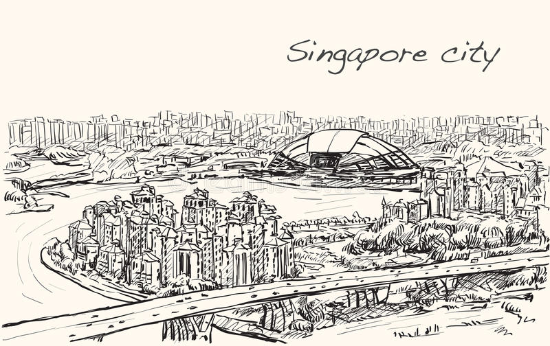 Sketch cityscape of Singapore skyline on topview Sports Hub stock illustration
