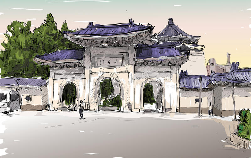 Sketch of cityscape in Taiwan Taipei show old temple door stock illustration