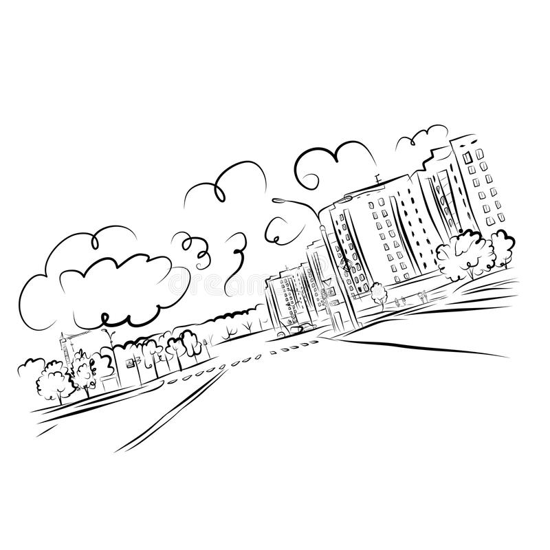 Download Sketch Of Cityscape For Your Design Stock Image - Image: 34571981