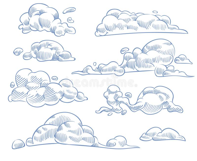Sketch clouds. Curled cloudy sky drawing texture, nature weather outline symbols. Engraving handmade craft in vintage. Style vector cloudscape set vector illustration