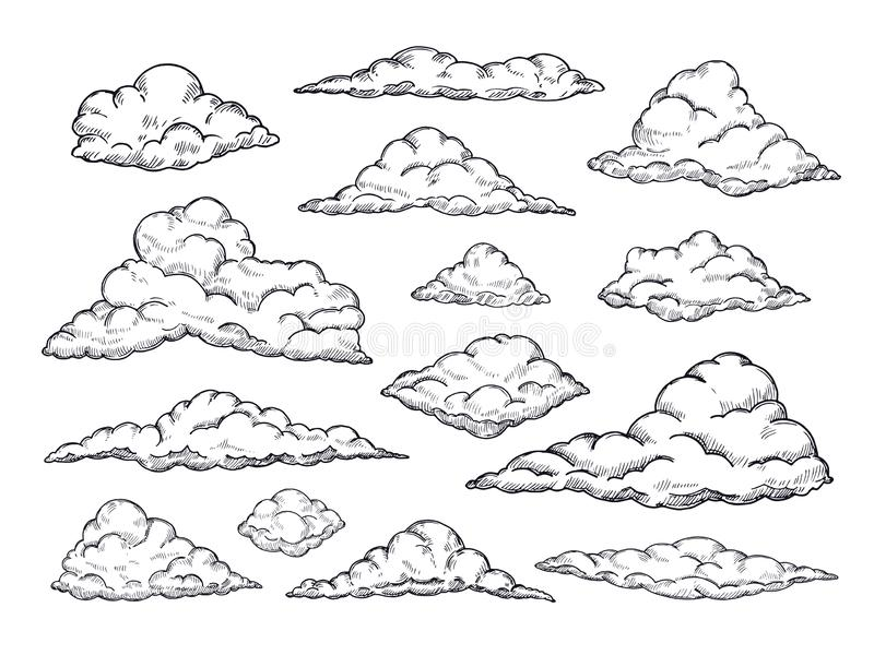 Sketch clouds. Hand drawn sky cloudscape. Outline sketching cloud vintage vector collection. Illustration of cloud shape of collection royalty free illustration