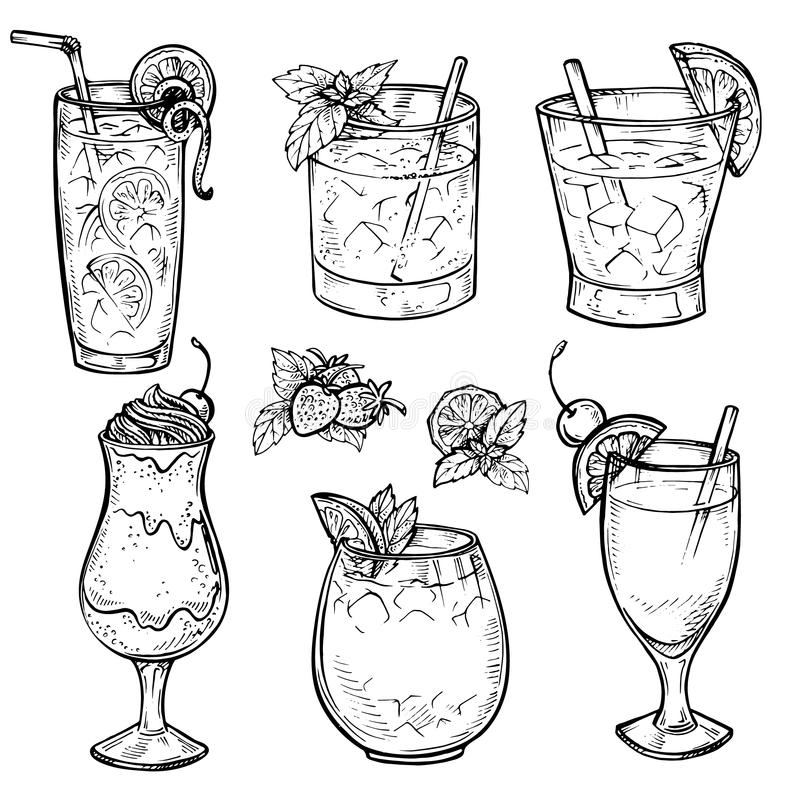 Free Sketch Cocktails And Alcohol Drinks Set. Stock Photo - 71348320