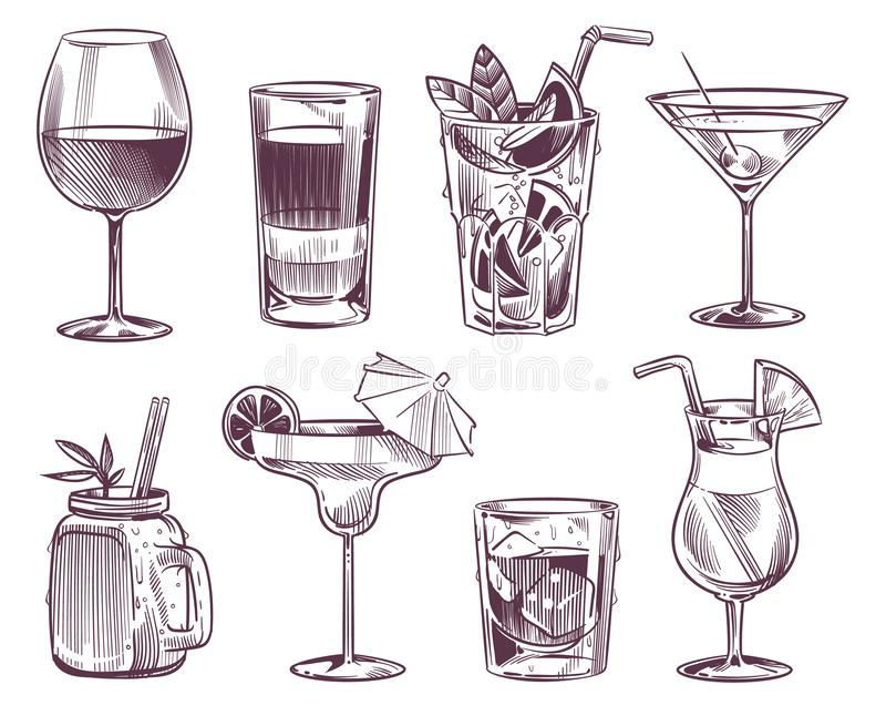 Sketch cocktails. Hand drawn cocktail and alcohol drink, different drinks in glass for party restaurant menu. Vector stock illustration