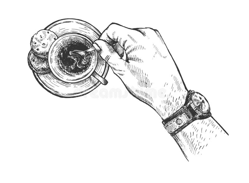 Sketch coffee cup in casual male hand royalty free illustration