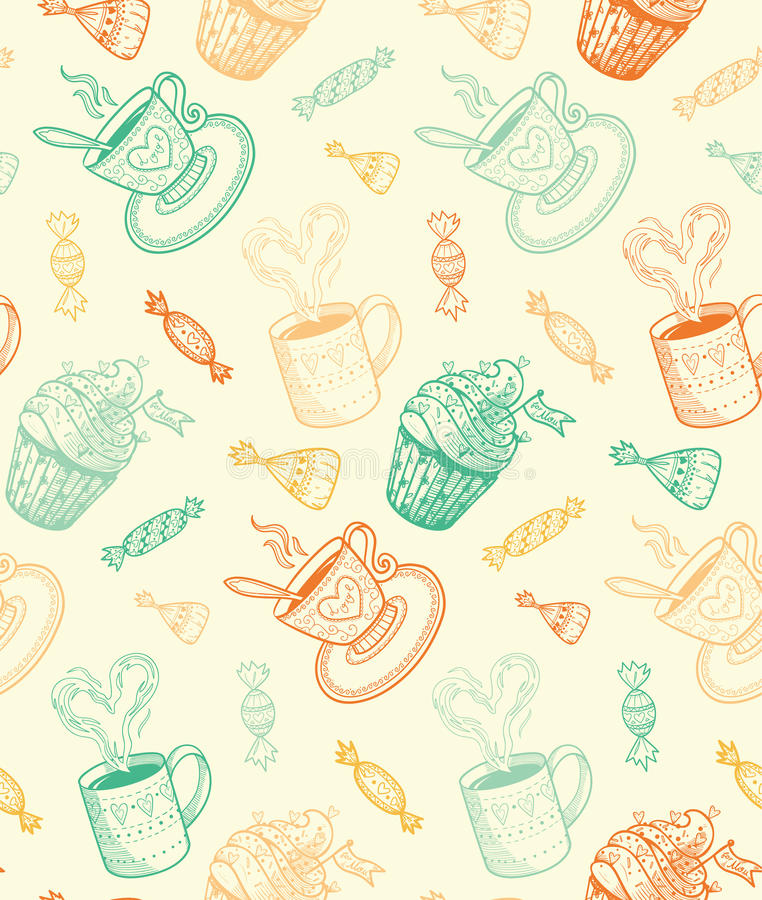 Sketch coffee cups and sweets. royalty free illustration