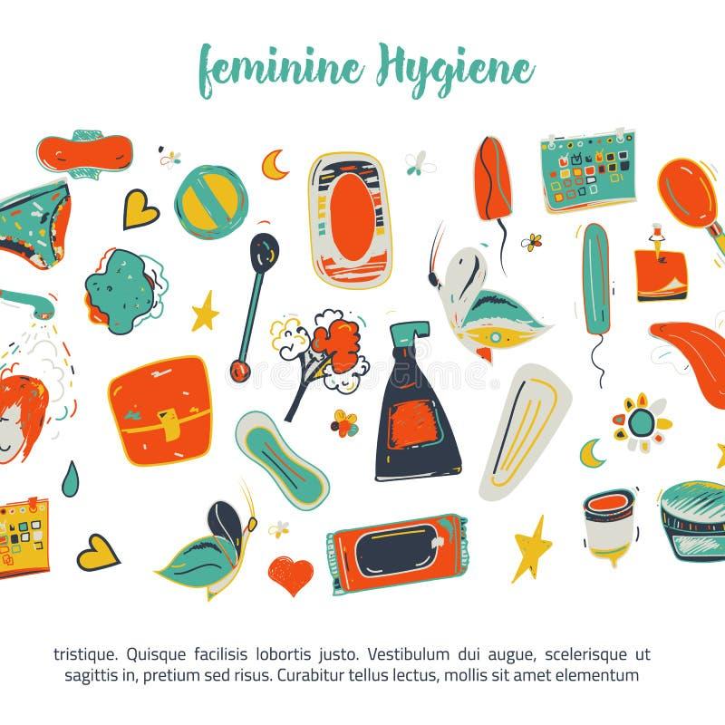 Sketch colorful Feminine hygiene funny banner design with tampon, menstrual cup, soap, sanitary napkin. Modern black. Line vector illustration for promo stock illustration