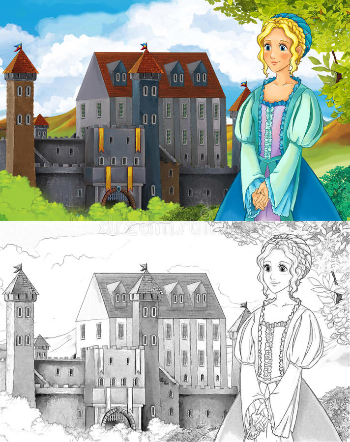 The sketch coloring page - artistic style fairy tale. Beautiful fairy tale coloring page with preview for kids stock illustration
